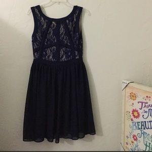 Blue Lace & Chiffon skater dress